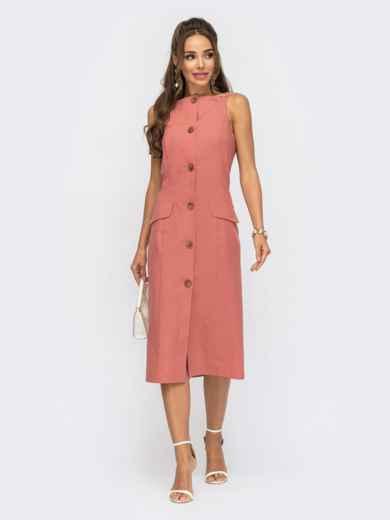 Льняное платье-футляр на пуговицах спереди коралловый 53792, фото 1