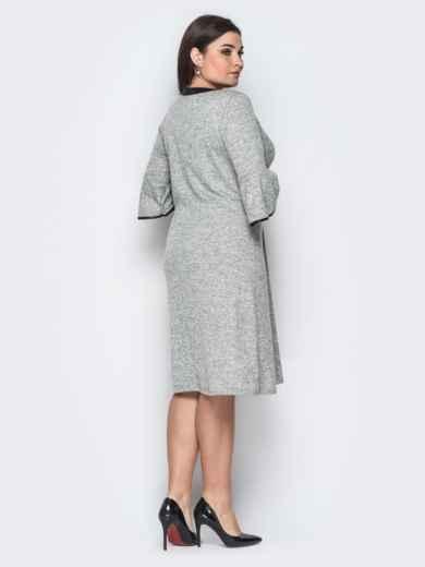 """Платье из трикотажа """"Ангора"""" с завязкой на горловине серое - 18363, фото 2 – интернет-магазин Dressa"""