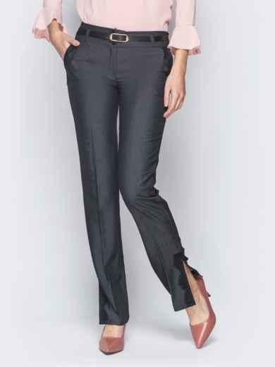 Серые брюки с отделкой из черного кружева 18863, фото 2
