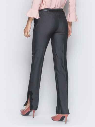 Серые брюки с отделкой из черного кружева 18863, фото 3