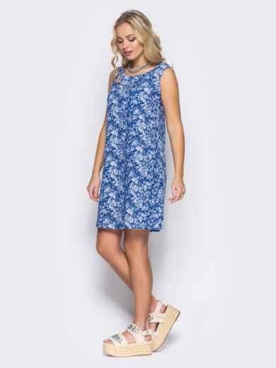 Синее льняное платье с вырезом по спинке - 11680, фото 2 – интернет-магазин Dressa