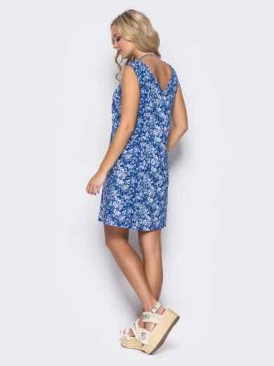 Синее льняное платье с вырезом по спинке - 11680, фото 3 – интернет-магазин Dressa