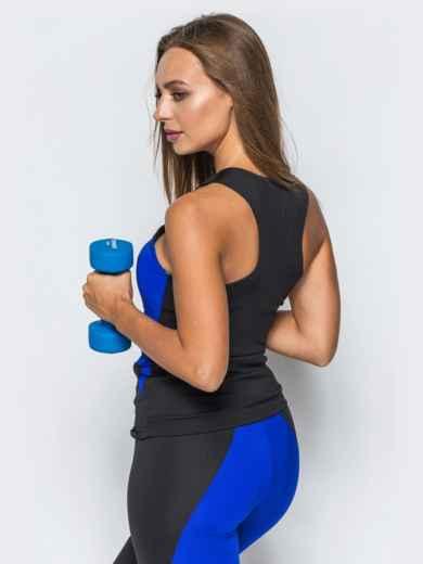 Спортивная майка-борцовка с синими вставками - 17198, фото 2 – интернет-магазин Dressa