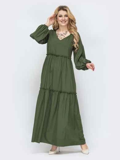 Свободное платье батал в пол цвета хаки 45142, фото 1