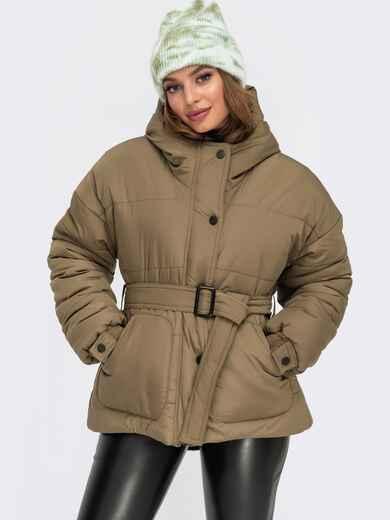 Зимняя куртка цвета хаки с накладными карманами и вшитым капюшоном 55612, фото 1