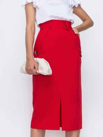 Красная юбка прямого кроя с разрезом спереди 49511, фото 1
