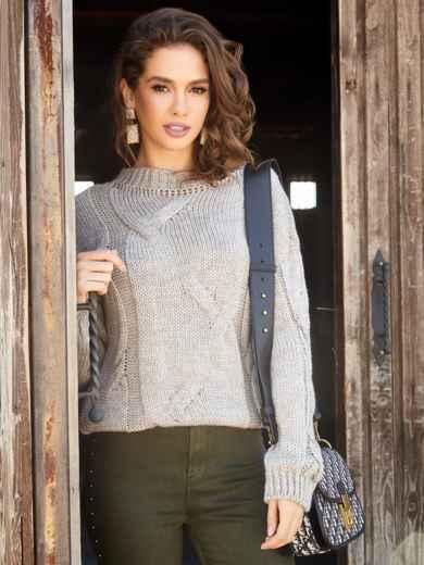 Бежевый свитер с ажурной вязкой и резинкой по низу - 41057, фото 2 – интернет-магазин Dressa