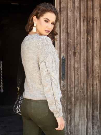 Бежевый свитер с ажурной вязкой и резинкой по низу - 41057, фото 3 – интернет-магазин Dressa