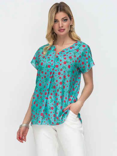 Бирюзовая блузка свободного кроя с принтом 50073, фото 1