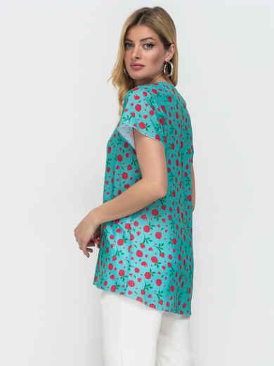 Бирюзовая блузка свободного кроя с принтом 50073, фото 2