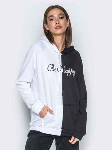 Чёрно-белое худи с капюшоном и карманом-кенгуру - 21129, фото 2 – интернет-магазин Dressa