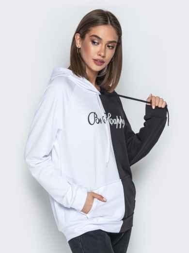 Чёрно-белое худи с капюшоном и карманом-кенгуру - 21129, фото 3 – интернет-магазин Dressa