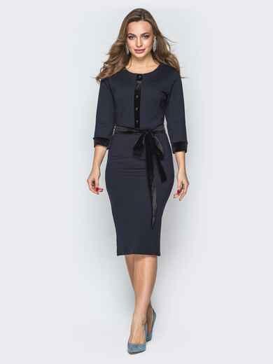 Черное платье-футляр с велюровой планкой - 19504, фото 1 – интернет-магазин Dressa