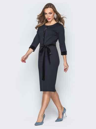 Черное платье-футляр с велюровой планкой - 19504, фото 2 – интернет-магазин Dressa