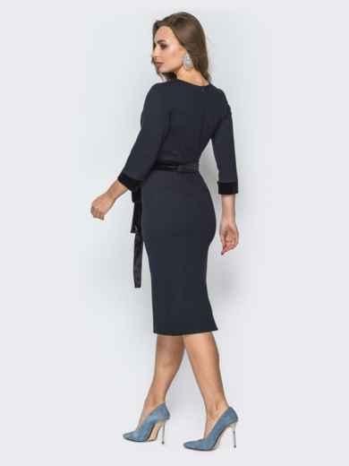 Черное платье-футляр с велюровой планкой - 19504, фото 3 – интернет-магазин Dressa