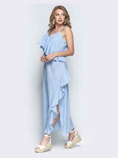 Голубое платье-макси с воланом и разрезом 39326, фото 1