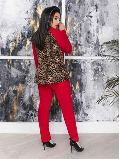 Комплект большого размера со вставками на кофте красный - 47347, фото 2 – интернет-магазин Dressa