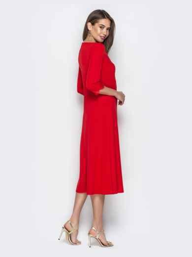 Красное платье приталенного кроя с V-вырезом горловины - 21035, фото 3 – интернет-магазин Dressa