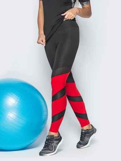 Красные лосины для фитнеса с контрастными вставками 38797, фото 1
