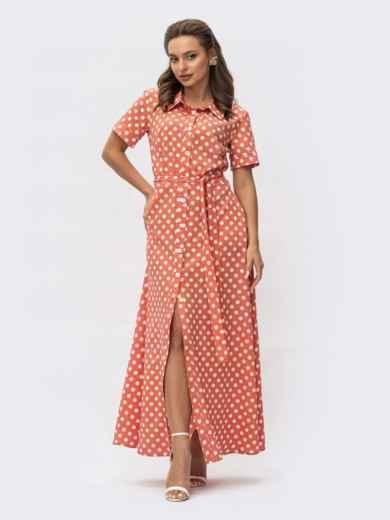 Оранжевое платье-рубашка в мелкий горох 54384, фото 1