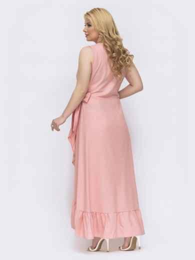 Платье на запах батал цвета пудра 47811, фото 2