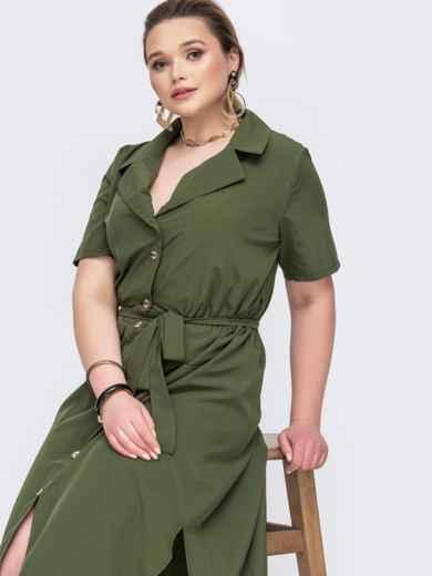 Платье-рубашка большого размера со шлейфом хаки 46382, фото 1