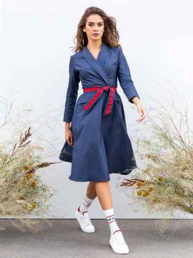 Приталенное платье с расклешенной юбкой синее - 40209, фото 2 – интернет-магазин Dressa