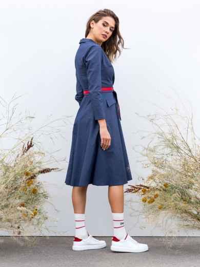Приталенное платье с расклешенной юбкой синее - 40209, фото 3 – интернет-магазин Dressa