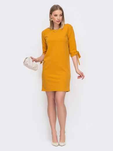Прямое платье с завязками на рукавах желтое 45792, фото 1