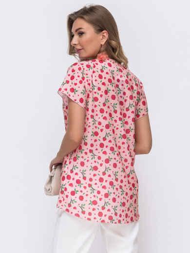 Пудровая блузка свободного кроя с принтом 50074, фото 2