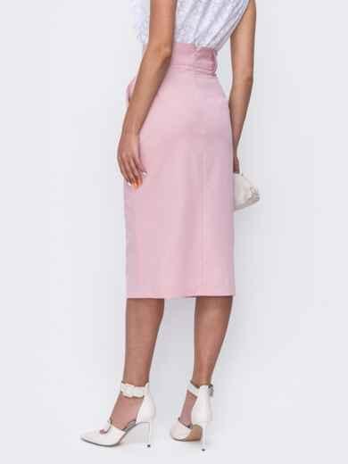 Розовая юбка-карандаш с разрезом спереди 49509, фото 2