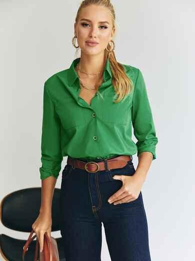 Рубашка с накладными карманами зеленая 55193, фото 1