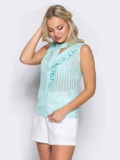 Шифоновая блузка с геометрическим вырезом на полочке бирюзовая - 10130, фото 2 – интернет-магазин Dressa