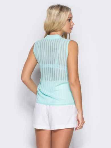 Шифоновая блузка с геометрическим вырезом на полочке бирюзовая - 10130, фото 3 – интернет-магазин Dressa