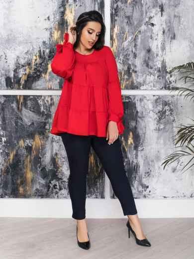 Свободная блузка с двухъярусными воланами красная 47363, фото 1