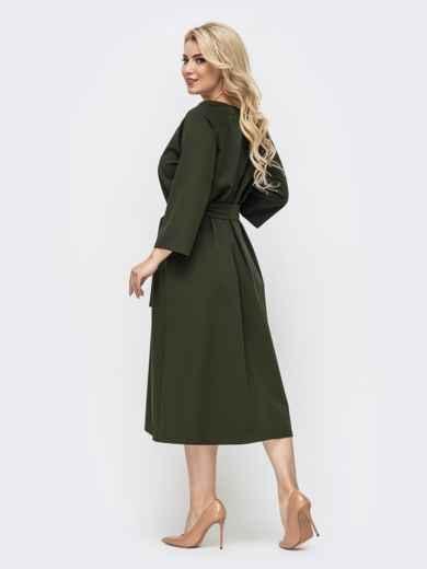 Свободное платье батал с авторской вышивкой хаки 50954, фото 2