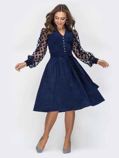 Тёмно-синее платье с рукавами из сетки в горох 45093, фото 1