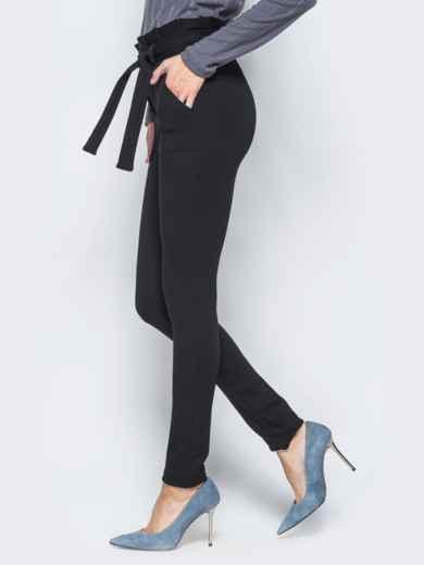 Зауженные брюки черного цвета на флисе - 17743, фото 2 – интернет-магазин Dressa