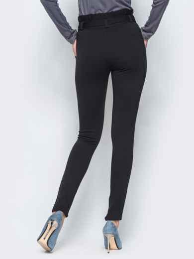 Зауженные брюки черного цвета на флисе - 17743, фото 3 – интернет-магазин Dressa