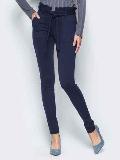Зауженные брюки тёмно-синего цвета на флисе - 17742, фото 1 – интернет-магазин Dressa