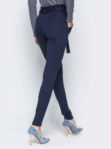 Зауженные брюки тёмно-синего цвета на флисе - 17742, фото 2 – интернет-магазин Dressa
