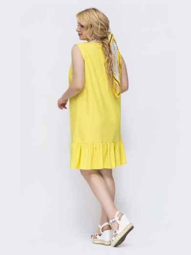 Желтое платье свободного кроя батал 47824, фото 2