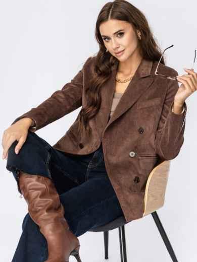 Вельветовый пиджак коричневого цвета  55250, фото 1