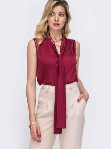 Блузка красного цвета с воротником-аскот 48425, фото 2