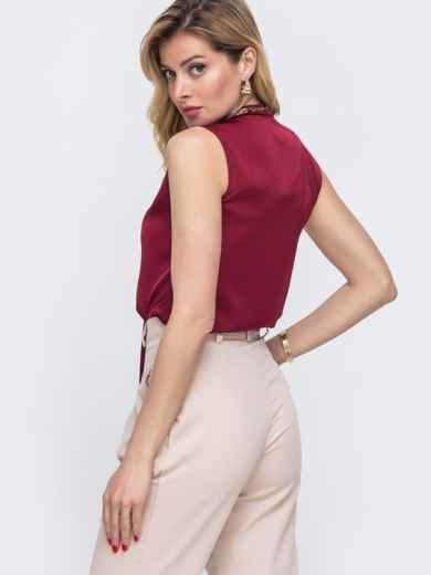 Блузка красного цвета с воротником-аскот 48425, фото 3