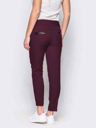 Бордовые брюки с кожаной отделкой на карманах 10325, фото 3