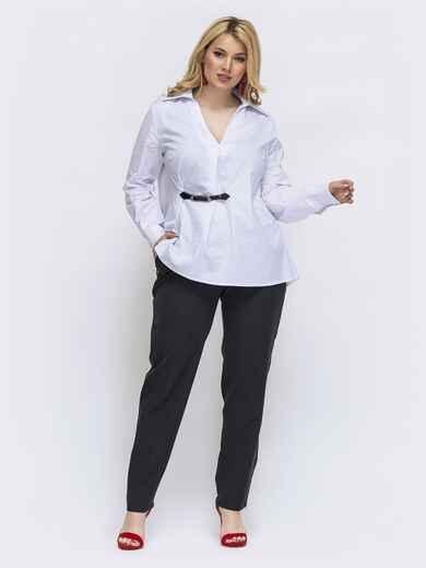 Чёрный комплект батал с белой блузкой 46020, фото 1