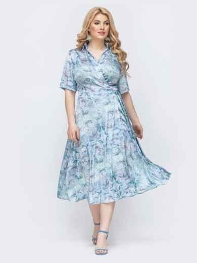 Голубое платье на запах большого размера с цветочным принтом 46031, фото 1