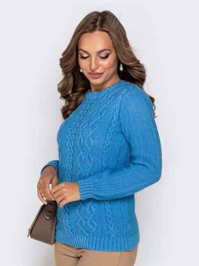 Голубой свитер из акрила с ажурной вязкой - 41158, фото 2 – интернет-магазин Dressa