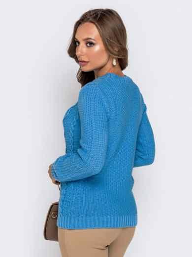 Голубой свитер из акрила с ажурной вязкой - 41158, фото 3 – интернет-магазин Dressa